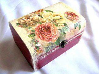 Cutie cu trandafiri portocalii si trandafiri galbeni, cutie lemn femei 27809