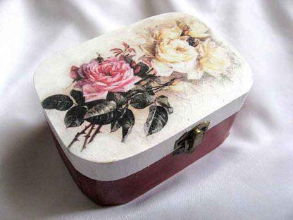 Cutie cu trandafiri roz si trandafiri galbeni, cutie bijuterii 27748