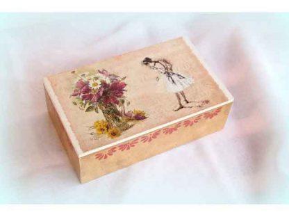 Cutie cu vaza cu flori si balerina stil vintage, cutie bijuterii femei 1129