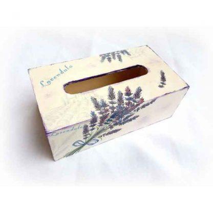 Cutie de servetele cu buchete de levantica, cutie lemn servetele 122614