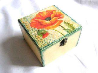 Cutie din lemn cu maci portocalii, cutie lemn bijuterii 27766
