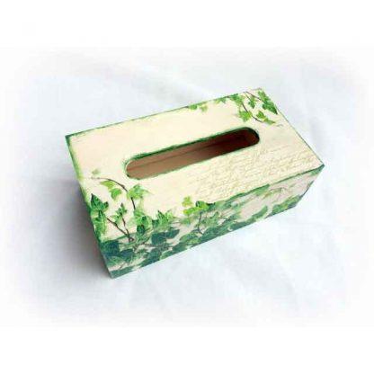 Cutie servetele cu frunze pe carte postala, cutie servetele lemn 122640