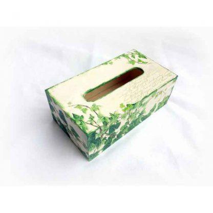 Cutie servetele cu frunze pe carte postala, cutie servetele lemn 122640 alt unghi
