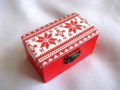 Cutiuta cu motiv traditional culori rosu si alb, cutiuta lemn 27887