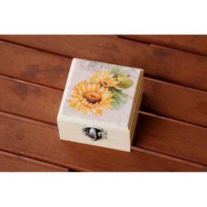 Cutiuta din lemn cu floarea soarelui, cutiuta decorata 8306