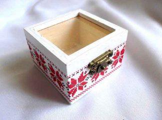 Cutiuta lemn cu geam, cutiuta cu motive traditionale rosu cu negru 32862