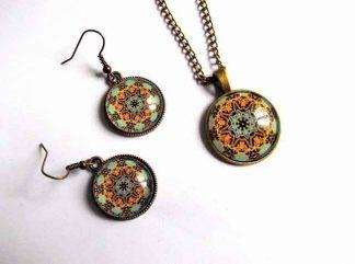 Elemente decorative mandala, set bijuterii pandantiv si cercei 32595