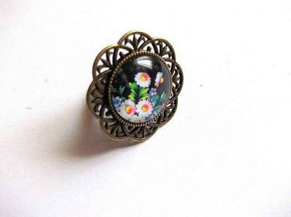 Inel bronz si sticla, bijuterie cu model floral 32510