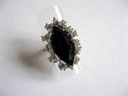 Inel cu cristal negru, inel simplu reglabil 23027