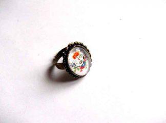 Inel cu flori de tara, inel reglabil metal si sticla 32408