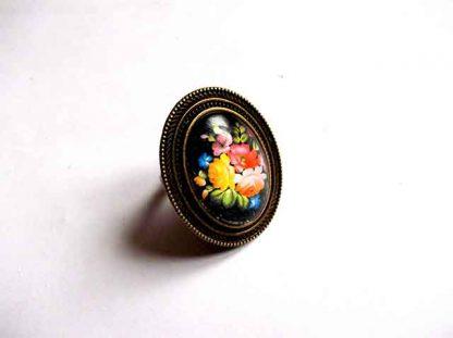 Inel cu flori viu colorate, inel reglabil femei 32401