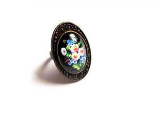 Inel cu model floral, inel reglabil sticla si metal 32407