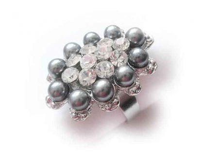 Inel cu perle gri si cristale, inel reglabil 10053
