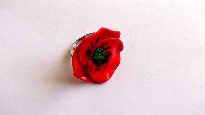 Inel mac rosu, inel reglabil cu floare rosie de camp 32010