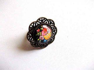 Inel model floral, inel reglabil bronz si sticla 32508