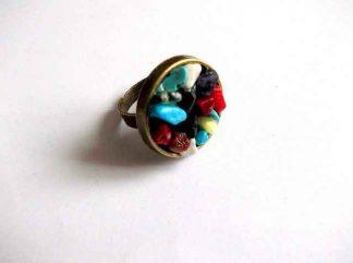 Inel reglabil bronz si pietre semipretioase, inel femei 32881