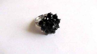 Inel reglabil cristale, inel negru femei 32318