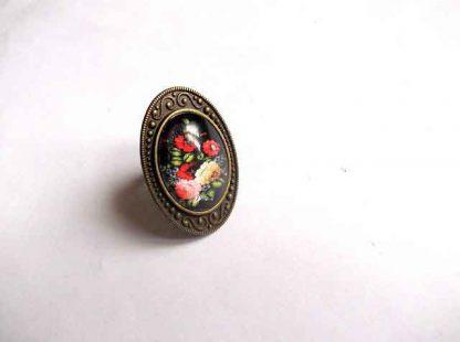Inel reglabil cu model floral, inel metal si sticla 32388