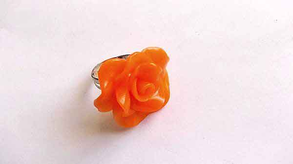 Inel reglabil fimo, inel cu trandafir portocaliu 32011