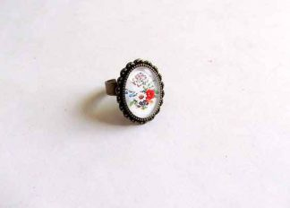 Inel sticla si metal, inel cu flori de tara 32426
