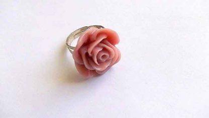 Inel trandafir portocaliu, inel simplu reglabil din rasina 32005
