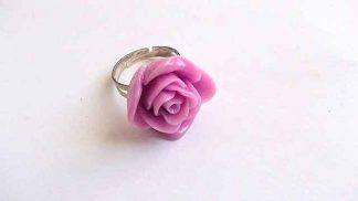 Inel trandafir roz, inel simplu reglabil din rasina 32006