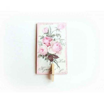 Magnet cu trandafiri roz cu clema, decoratiune magnet frigider 131522