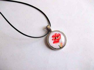 Pandantiv cu floare de mac rosu, pandantiv bronz si sticla 32432