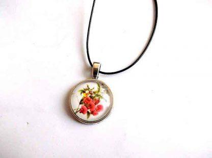 Pandantiv cu model floral, pandantiv cu flori rosii 32441