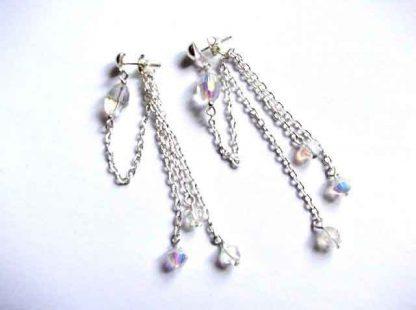 Pereche cercei cu cristale fatetate, bijuterie femei 32529