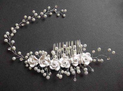 Pieptan cu flori, strasuri si perle de sticla, pieptan mireasa 32577