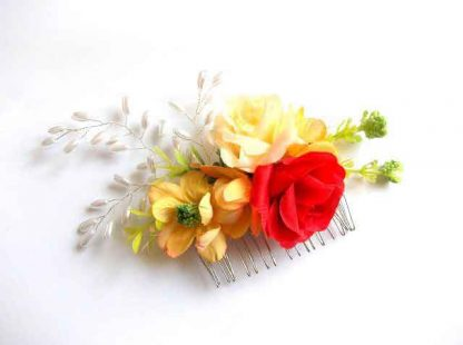 Pieptan mireasa cu trandafiri artificiali, pieptan nunta 31818