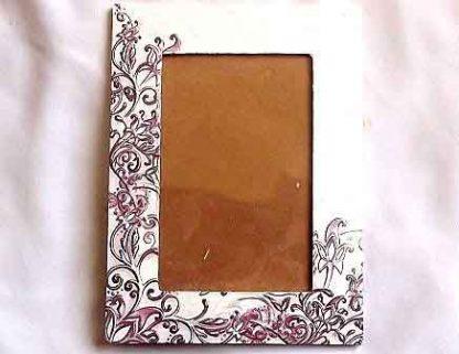 Rama foto elemente decorative rosu si negru, rama foto lemn 32209