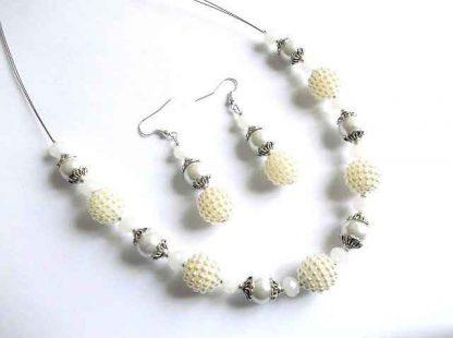 Set bijuterie, cristale si perle sticla, set cercei si colier 32689