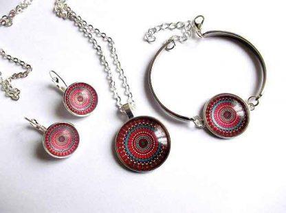 Set bijuterie femei, bratara, cercei si colier cu pandantiv 32802