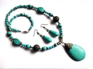 Set bijuterie peruzea, bijuterie femei pietre semipretioase 32734