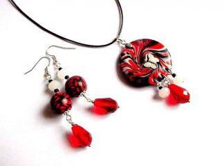 Set bijuterie rosu, negru si alb, set bijuterie femei 32769