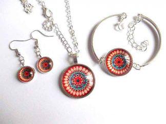 Set bijuterii flori stilizate, model floral rosu si albastru 32804