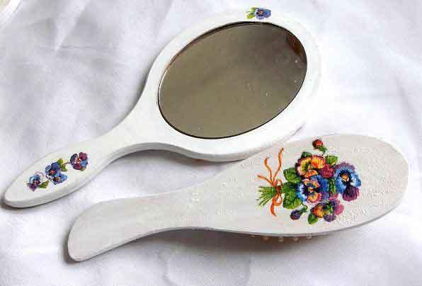Set buchet petunii viu colorate, set oglinda si perie par 32666 poza a 2a