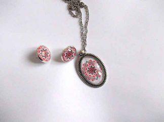 Set cercei si colier cu pandantiv cu motiv traditional, set bijuterie femei 31986