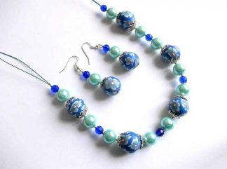 Set colier si cercei, fimo, cristale si perle, set model 32690