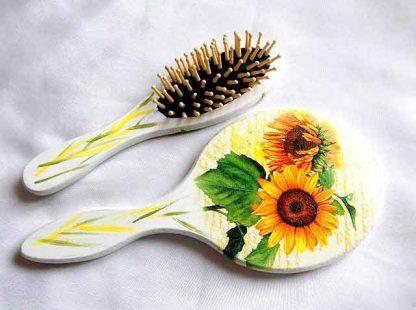 Set cu floarea soarelui, set util femei perie par si oglinda 32839