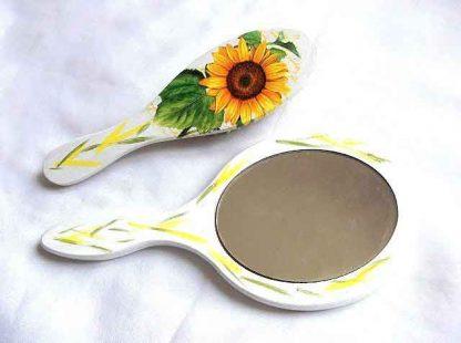 Set cu floarea soarelui, set util femei perie par si oglinda 32839 poza a 2a