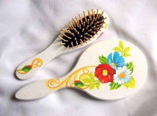 Set cu flori de tara, set femei perie si oglinda 32732