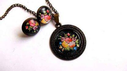 Set cu model floral, set bijuterie cercei si colier cu pandantiv 32044