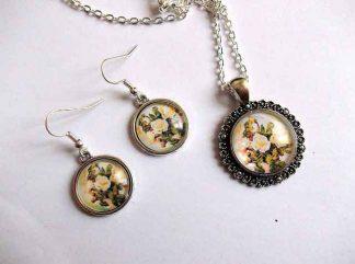 Set cu trandafiri galbeni, bijuterie set femei 32499