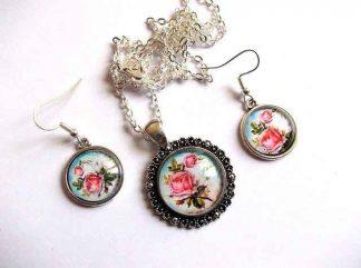 Set cu trandafiri roz, bijuterie set femei 32501