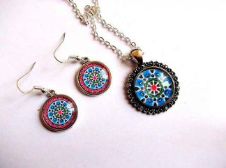 Set mandala pandantiv si cercei, set bijuterii femei 32500