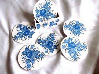 Set pahare cu flori stilizate albastre, set pahare 32913