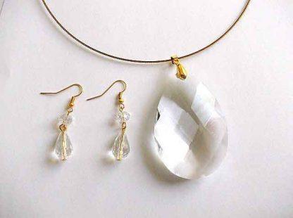 Set pandantiv si cercei cu cristale fatetate, set bijuterie femei 32481